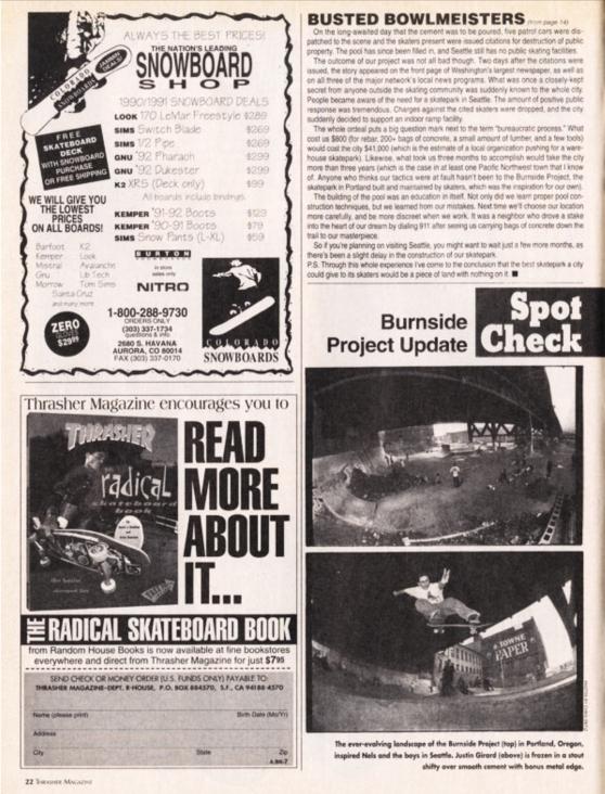 1992-7 Thrasher vol 12 pg 22 Burnside Project Update