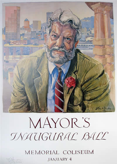 Mayor's Ball poster of Bud Clark by artist Henk Pander.
