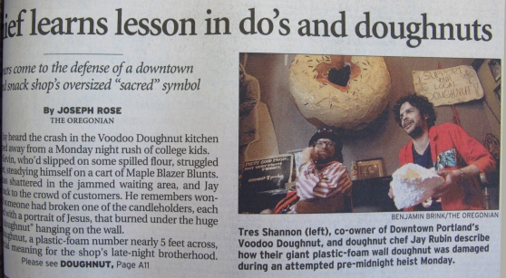 Voodoo Doughnut doughnut theft by the evil Neiderbeck.