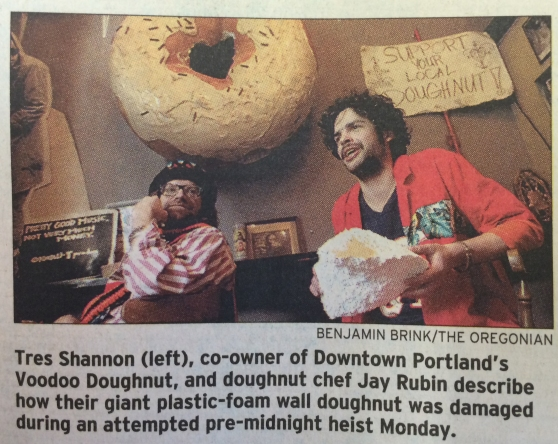 Voodoo Doughnut doughnut theft by the evil Neiderbeck. Oregonian 11/9/2005