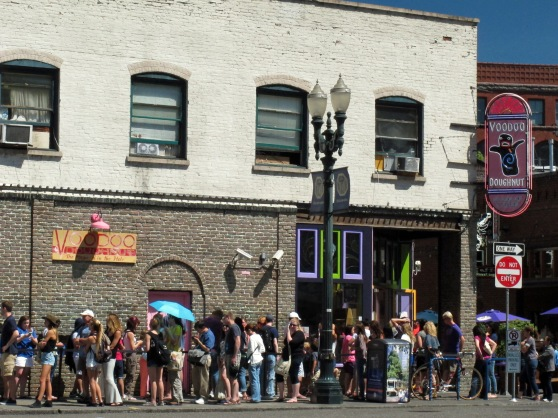 Voodoo Doughnuts just another typical line out the door.