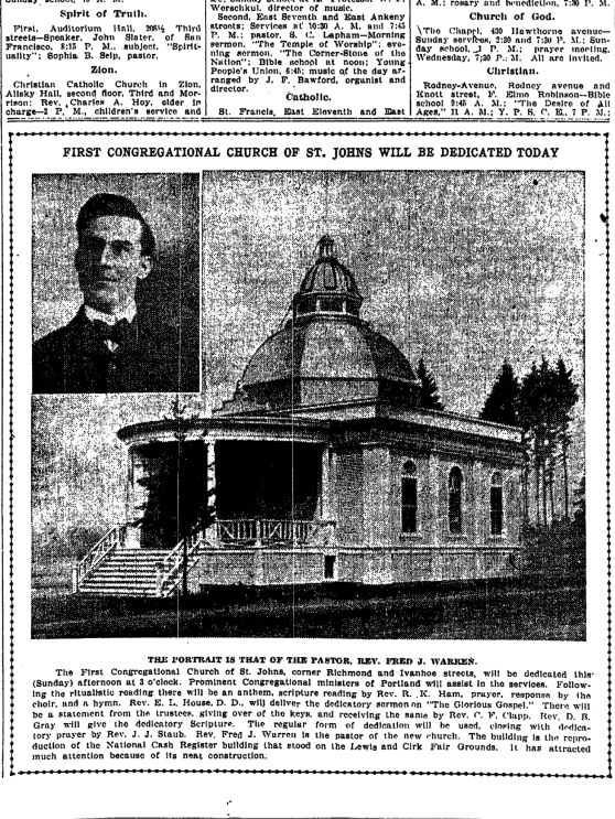 1906-6-3 Oregonian First Congrssional Church dedicated in St Johns today clipped