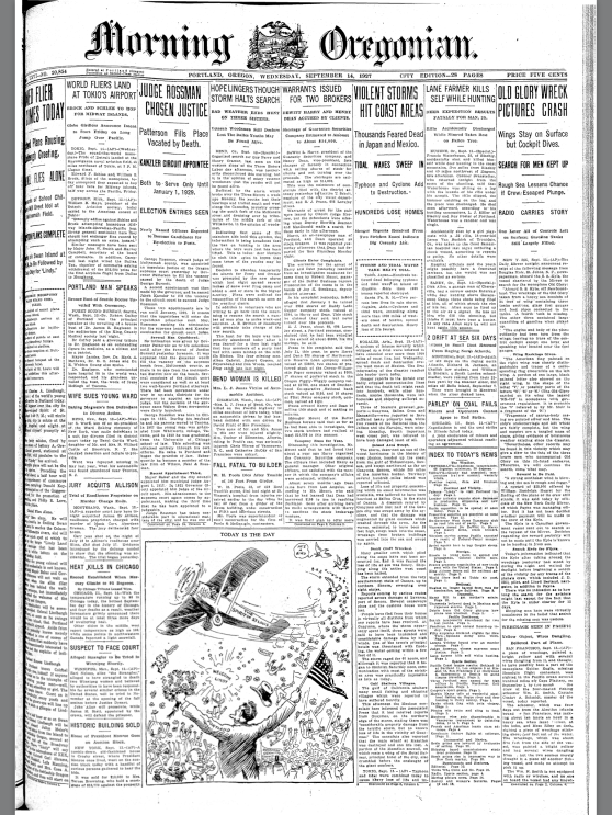 1927-9-14 Oregonian Today's The Day