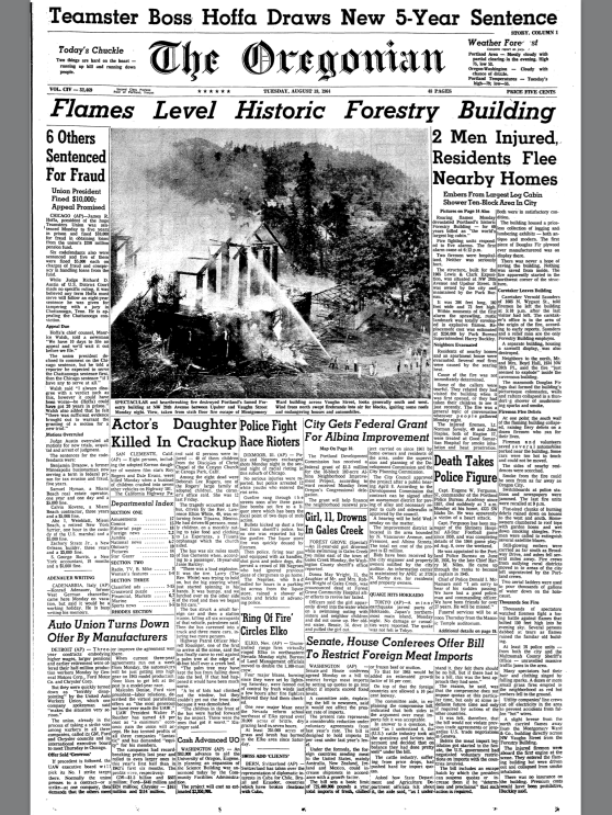 1964-8-18 Oregonian Forestry Building Destroyed by Fire