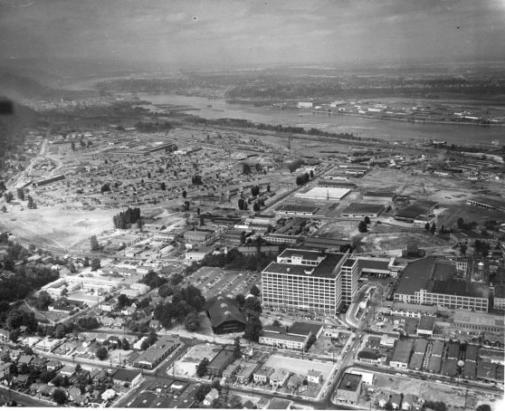 Ariel view of Portland with Montgomery Park and Forestry building circa 1951 (Portland City Archives)