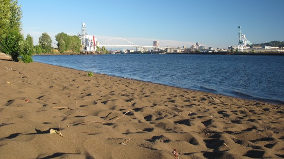 In late July low water offers a long sandy beach