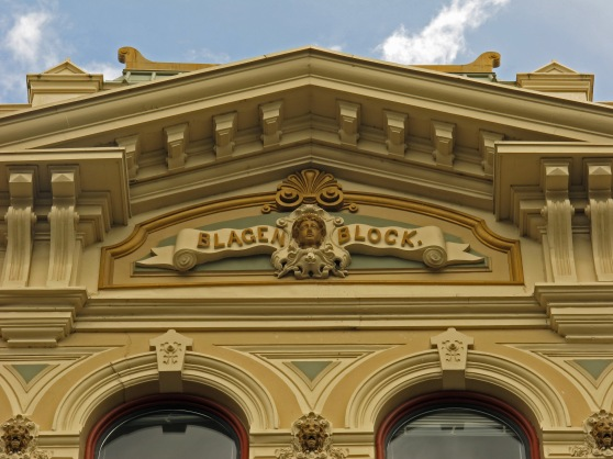 The decorative iron facade of the Blagen Block