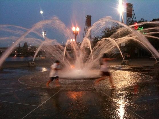 Salmon Street Springs Fountain on Bollards