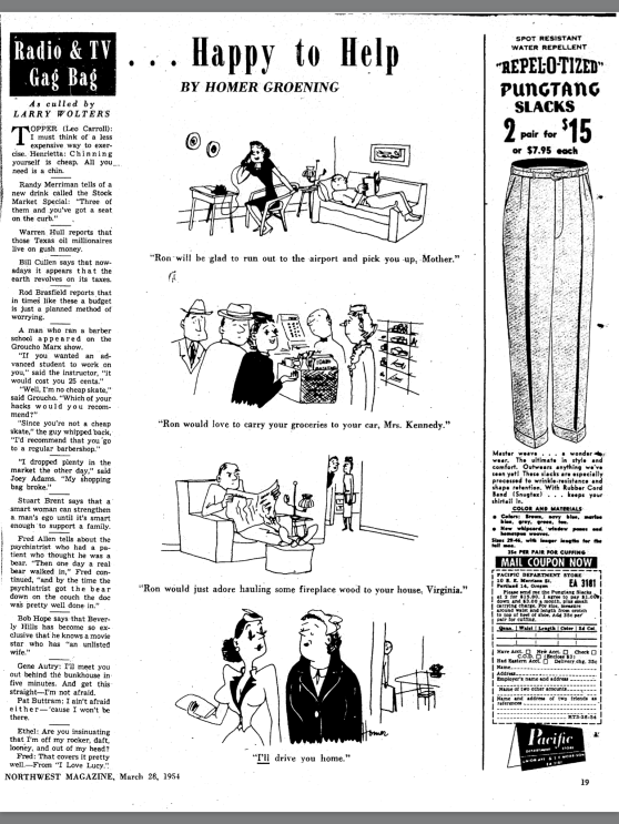 Homer Groening cartoons from the Oregonian during the 50s.