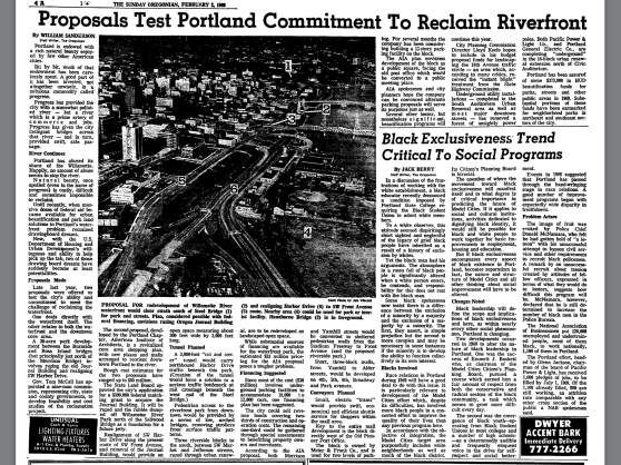 1969-2-2 Oregonian Proposals Test Portland Commitment To Reclaim Riverfront