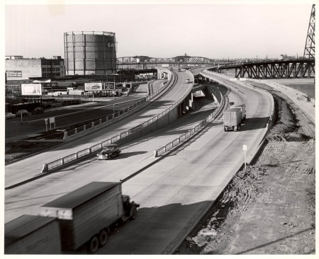 Steel Bridge approach from Harbor Drive c. 1950.