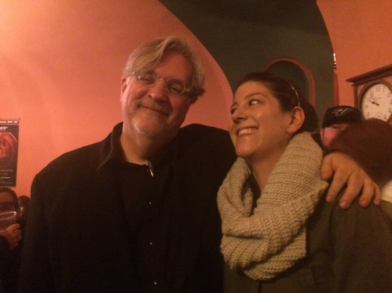Matt Groening and I having a laugh over the idea that he was the one to carve the Bart by Lincoln High. If Matt Wuerkers invoice wasn't enough to prove that it was not carved by Matt Groening, well I got Matt's word face to face that he did NOT do the carving. Solved!