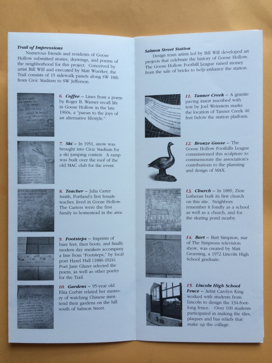 Goose Hollow Art Walk brochure