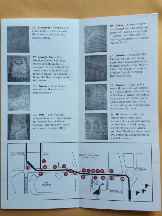 Goose Hollow Art Walk brochure with map