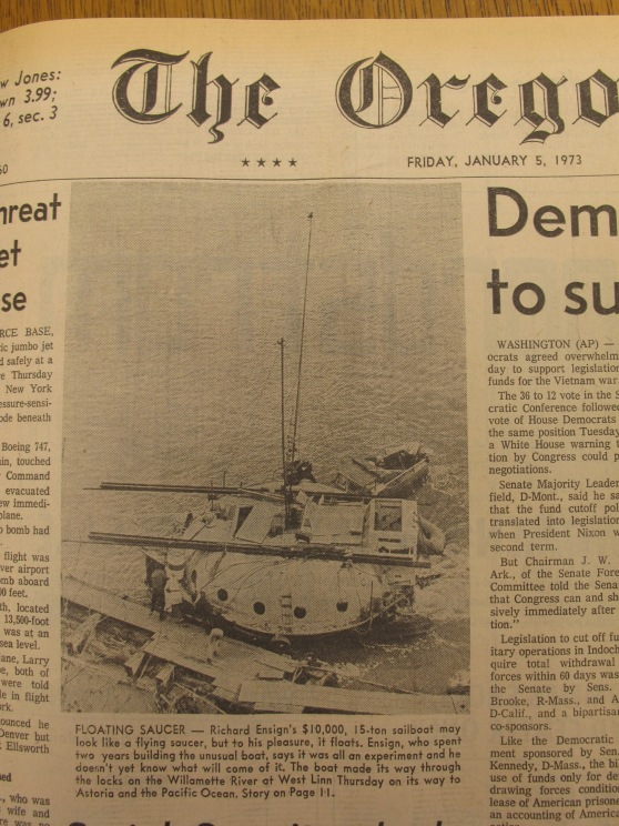A close up of the strange homemade boat from the 1973 Oregonian