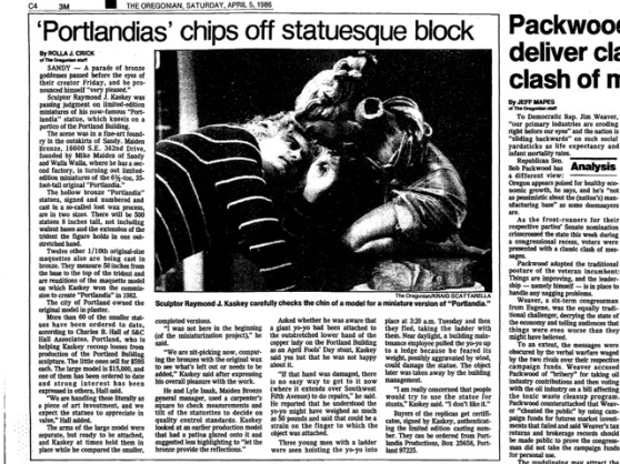 Kaskey inspects mini Portlandia at Maiden Foundry (Oregonian 4/5/1986)