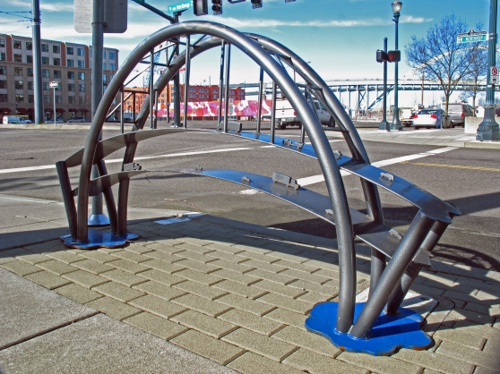 One of the six Fremont Bridge custom bike racks