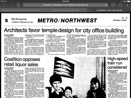 1980-2-28 Oregonian  Architects favor temple design for city office building