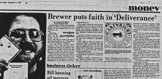 Cartwright's Brewing 1981-12-15 Journal Deliverance Ale