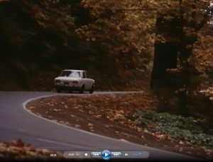 8.58 The girls head up Germantown Road passing the big tree at the hairpin turn (1982) Unhinged
