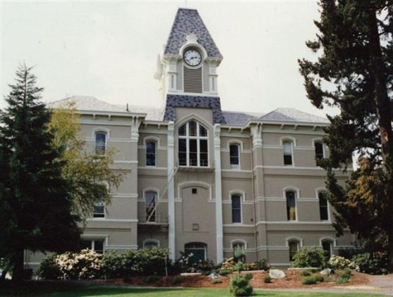 Benton Hall after the clock from the old Gasco Building was donated by Northwest Natural and installed in 1989.
