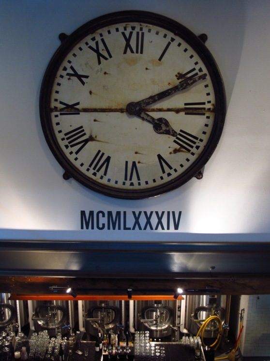 BridgePort Brewery Clock set to 4/11 the date the brewery signed the lease to the building and started brewing in 1984