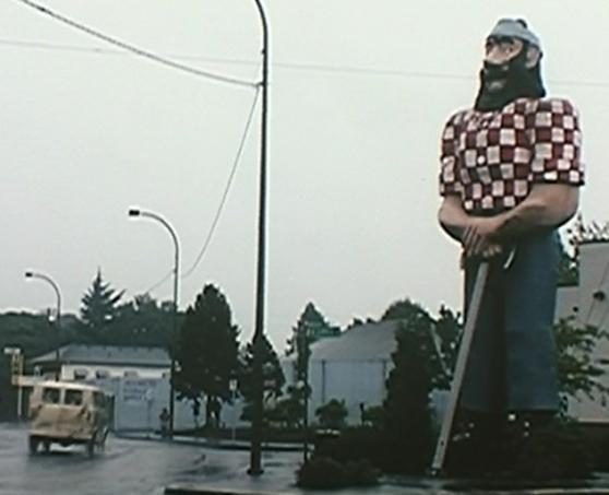 The Paul Bunyan statue as they pass the Dancin' Bare