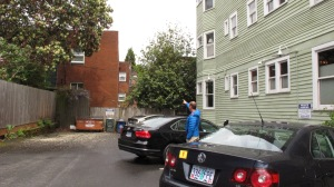 Parking between buildings