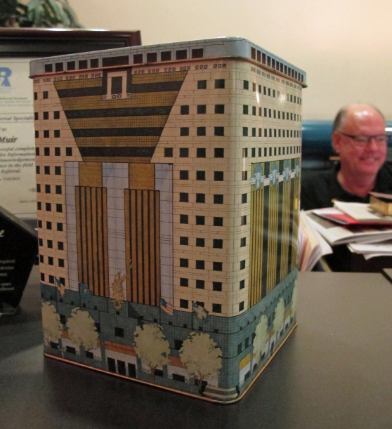 Portland Building cookie tin originally sold by Meier & Frank in 1982.
